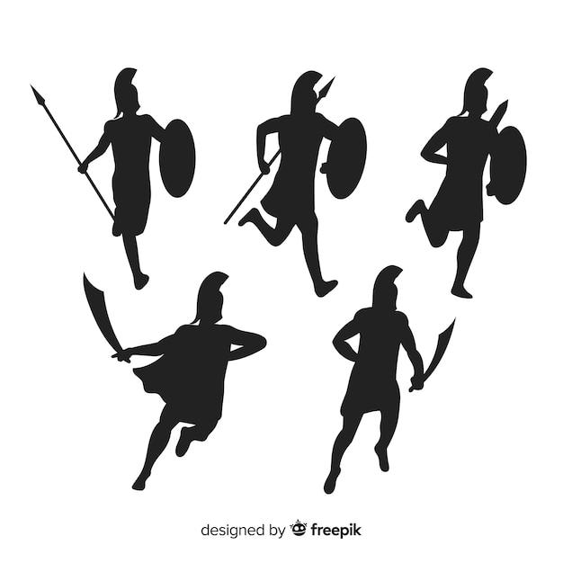 Collezione silhouette guerriero spartano Vettore Premium