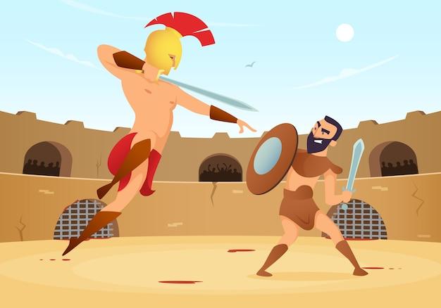 Guerrieri spartani che combattono nell'arena dei gladiatori. Vettore Premium