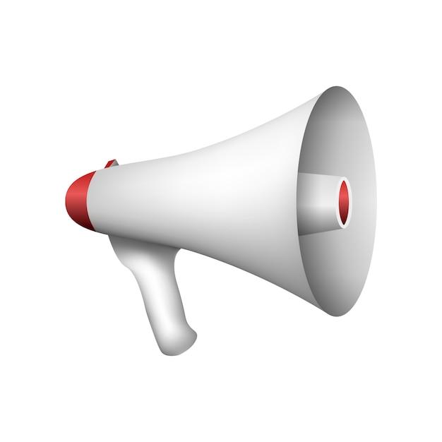 Altoparlante in uno stile realistico per l'uomo del suono dell'altoparlante di lingua vocale isolato Vettore Premium