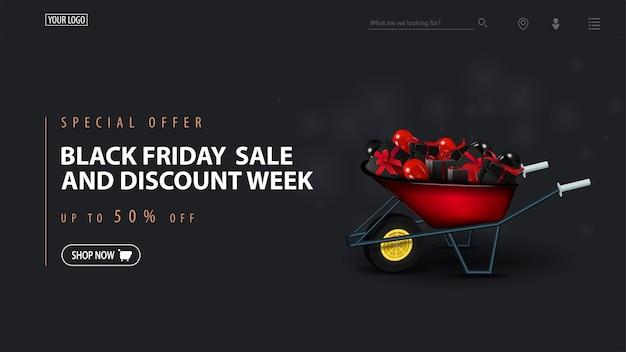 Offerta speciale, vendita del black friday e settimana di sconti, banner di sconto scuro Vettore Premium