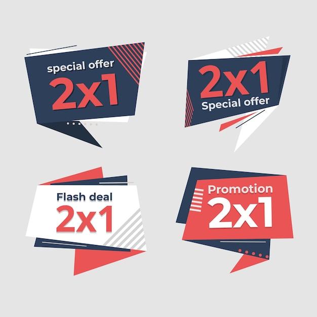 Collezione di etichette promozionali di offerta speciale Vettore Premium