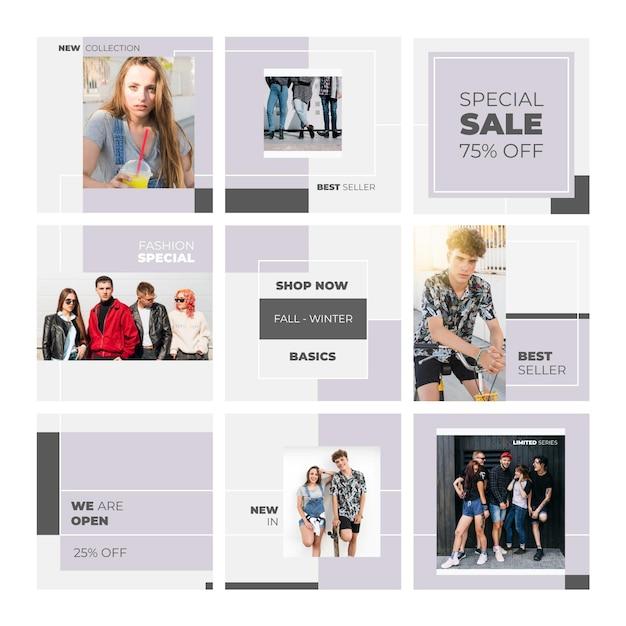 Vendita speciale con i modelli instagram feed puzzle Vettore Premium