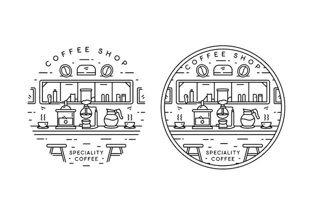 Specialità caffetteria monoline badge design Vettore Premium