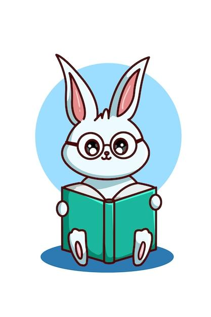 Un coniglio dagli occhiali che legge un libro Vettore Premium