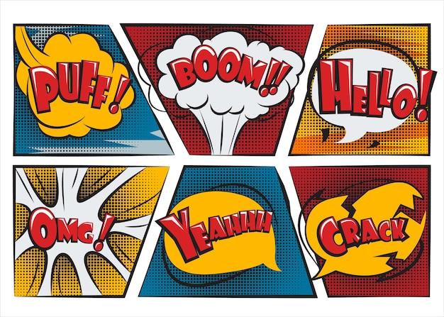 Sorpresa di palloncini di discorso per i fumetti Vettore Premium