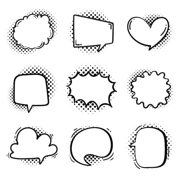 Nuvoletta per l'immissione di messaggi di conversazione e pensieri di personaggi dei cartoni animati Vettore Premium