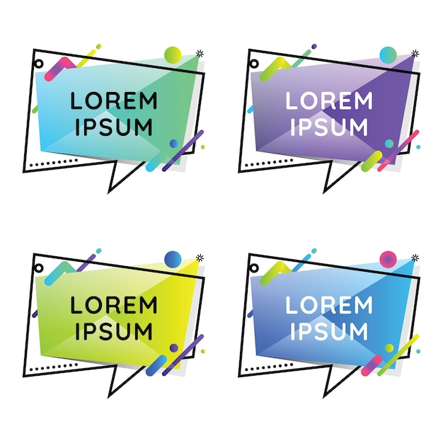 Speech bubles geometric colorful set Vettore Premium
