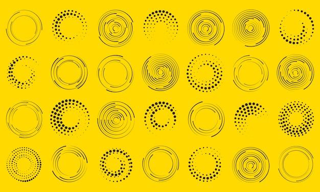 Linee di velocità in forma circolare. arte geometrica. insieme di linee di velocità punteggiate mezzetinte spesse nere. elemento di design per telaio, logo, tatuaggio, pagine web, stampe, poster, modello, sfondo astratto. Vettore Premium