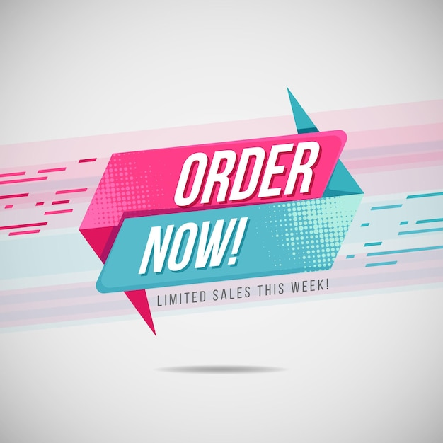 Velocità rosa e blu ordina ora modello di banner Vettore Premium