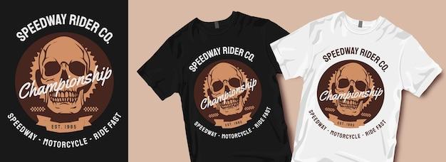 Disegni di t-shirt da motociclista speedway Vettore Premium