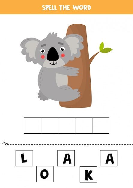 Gioco di ortografia per bambini. koala sveglio del fumetto sull'albero. Vettore Premium
