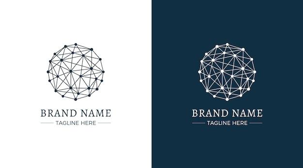 Sfera composta da linee e punti logo Vettore Premium