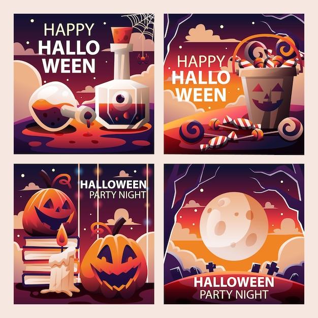 Raccolta di modelli di social media di halloween spettrale Vettore Premium