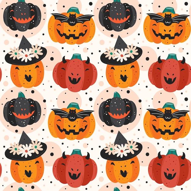 Zucche spettrali. diavolo, strega, vampiro. modello senza cuciture felice di halloween Vettore Premium