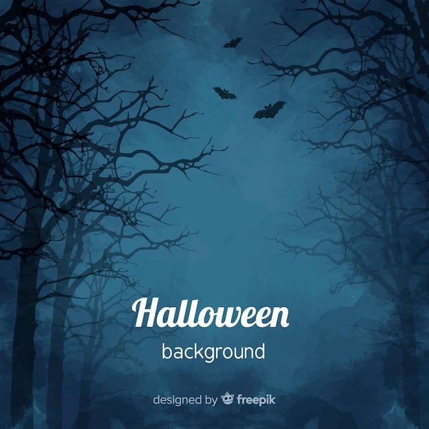 Spooky sfondo acquerello di halloween Vettore Premium