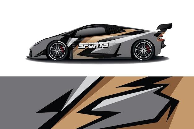 Design avvolgente per decalcomanie per auto sportive Vettore Premium
