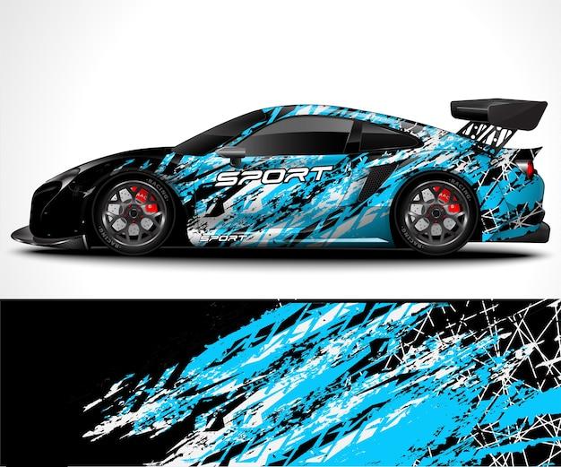 Car wrap e livrea vettura sportiva Vettore Premium