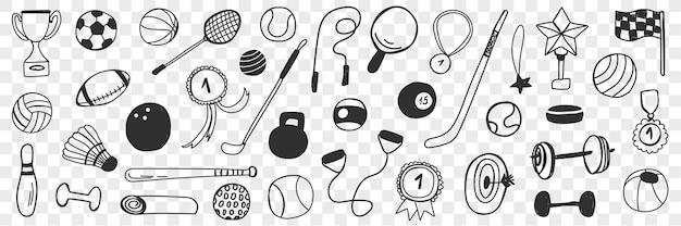 Insieme di doodle di attrezzature per giochi sportivi. Vettore Premium