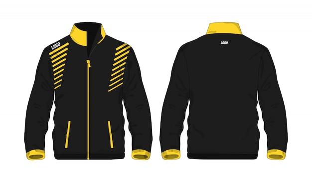 Giacca sportiva illustrazione gialla e nera di t Vettore Premium
