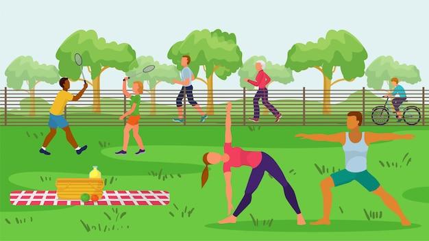Sportivi nell'illustrazione all'aperto del parco. attività in natura, personaggio di uomo donna in bicicletta, facendo esercizio fisico Vettore Premium