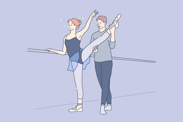 Sport, formazione, pratica, concetto di danza. Vettore Premium