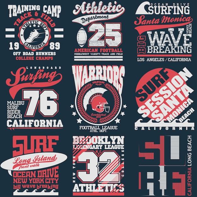 Insieme dell'emblema della grafica di tipografia di sport, progettazione di stampa della maglietta. abbigliamento atletico originale, stampa vintage per abbigliamento sportivo Vettore Premium