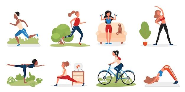 Illustrazione dei caratteri di attività della donna di sport Vettore Premium