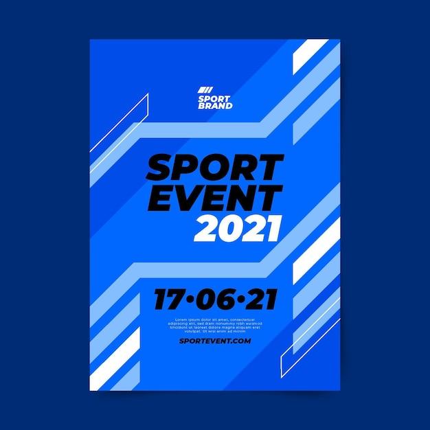Modello del manifesto di evento sportivo con linee blu Vettore Premium