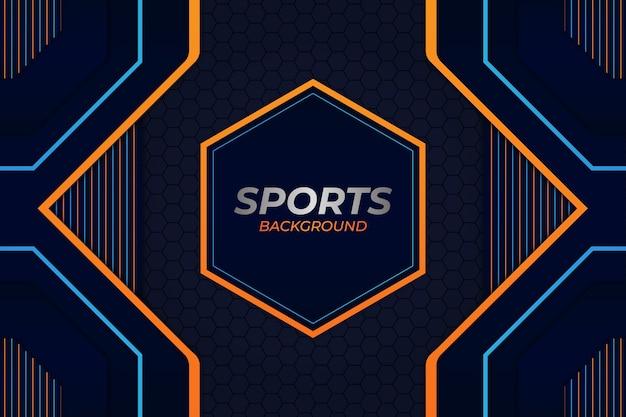 Sfondo di sport stile blu e arancione Vettore Premium