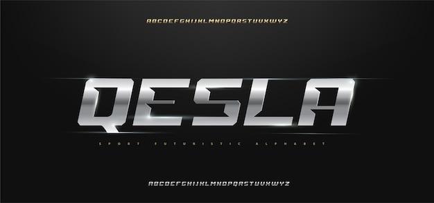 Set di caratteri alfabeto tipografia moderna sportiva Vettore Premium