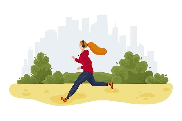 Donna sportiva che pareggia nel parco cittadino Vettore Premium