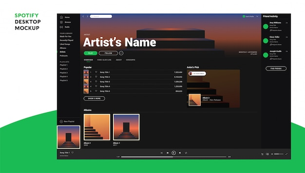 Spotify desktop Vettore Premium