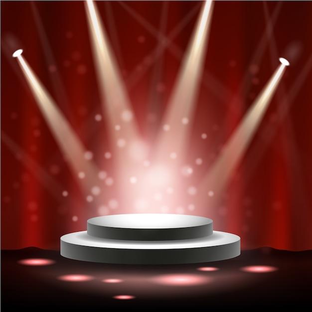 Spotlight splende sul palco Vettore Premium