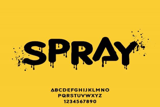 Spray, forma geometrica tipo di alfabeto tipo di vettore Vettore Premium