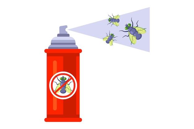 Spray spray per insetti. sbarazzarsi delle mosche domestiche. illustrazione piatta. Vettore Premium
