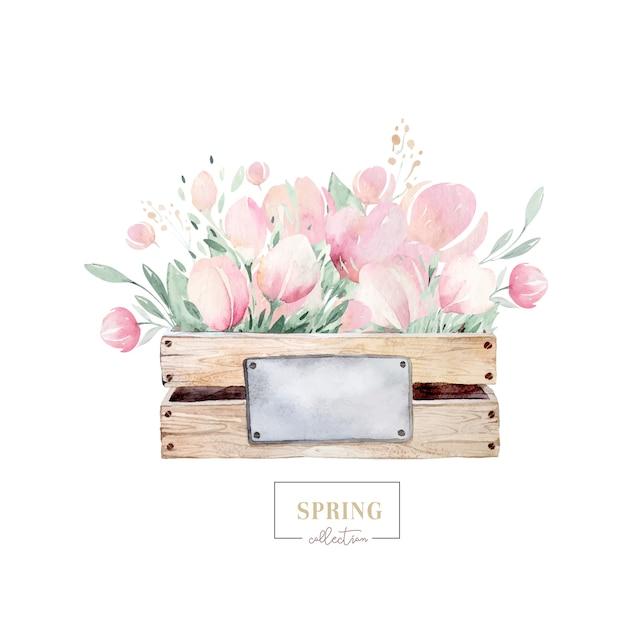 Mazzo della primavera dei fiori di fioritura con le foglie verdi in scatola di legno. pittura ad acquerello disegno floreale isolato rosa disegnato a mano Vettore Premium