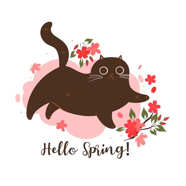 Gatto di primavera con fiori di ciliegio su sfondo bianco. iscrizione ciao primavera. Vettore Premium