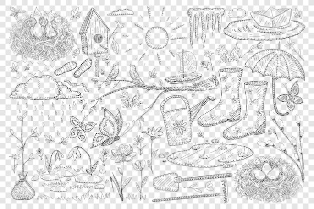 Illustrazione stabilita di doodle di primavera e agricoltura Vettore Premium