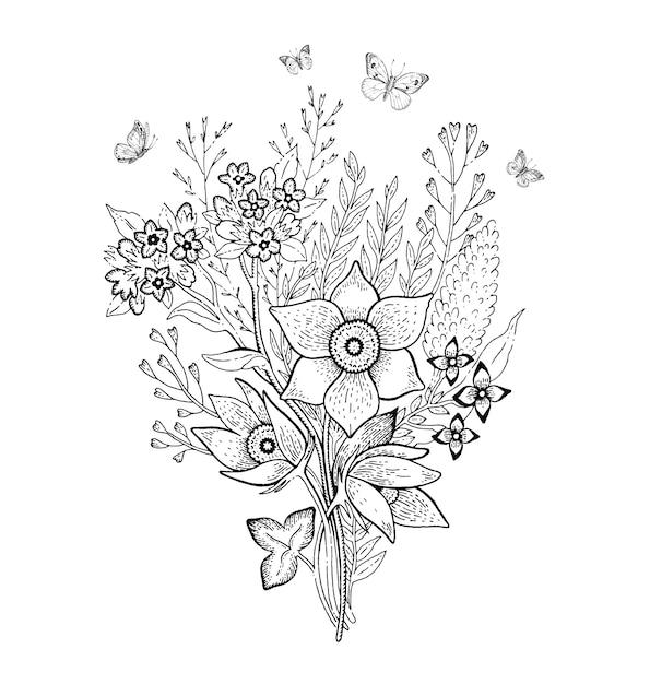 Schizzo Di Bouquet Di Fiori Di Primavera Vettore Premium