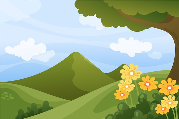 Primavera rilassante paesaggio con fiori e verdi colline Vettore Premium