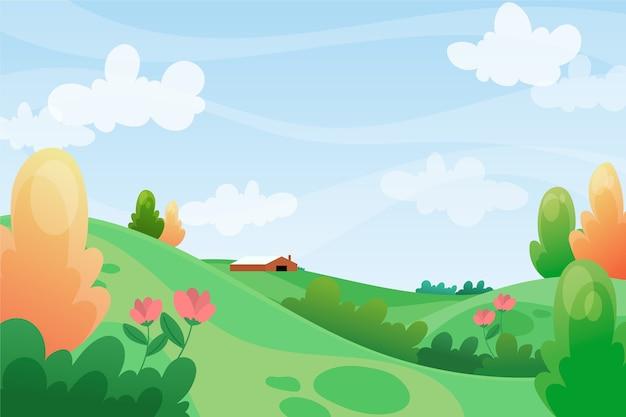 Paesaggio di rilassamento della primavera con le colline verdi ed il cielo blu Vettore Premium