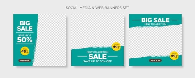 Modelli di banner di vendita scontati modificabili quadrati con cornici vuote grunge astratte per social media, post di instagram e web Vettore Premium