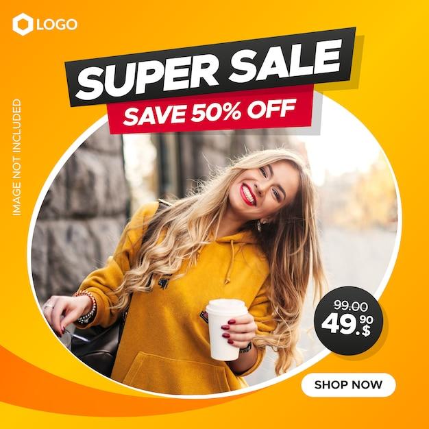Banner di vendita quadrata di moda per web e social media Vettore Premium