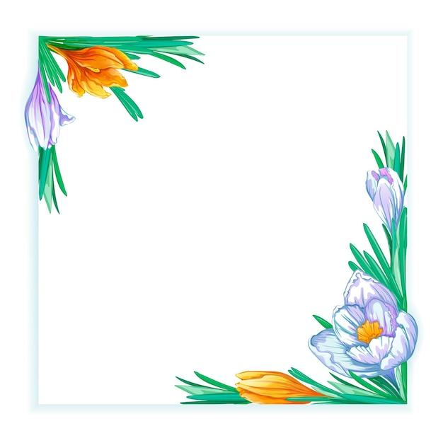 Cornice quadrata con crochi primaverili bianchi e arancioni. modello floreale per testo o foto. Vettore Premium