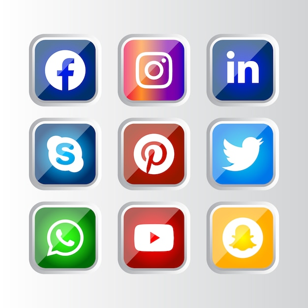 Cornice quadrata argento lucido pulsante icone social media con effetto sfumato impostato per l'utilizzo in linea ux ui Vettore Premium