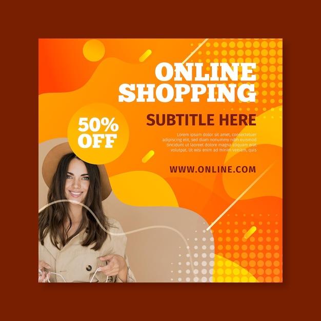 Volantino quadrato per lo shopping online Vettore Premium