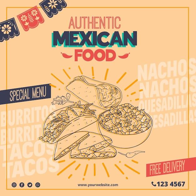 Modello di volantino quadrato per ristorante di cibo messicano Vettore Premium