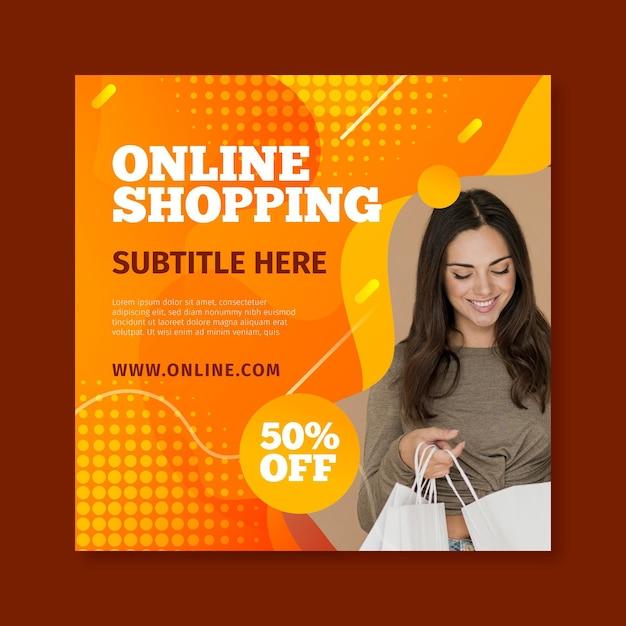 Modello di volantino quadrato per lo shopping online Vettore Premium