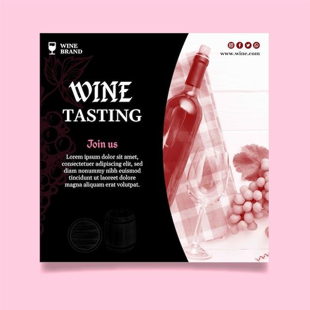 Modello di volantino quadrato per degustazione di vini Vettore Premium