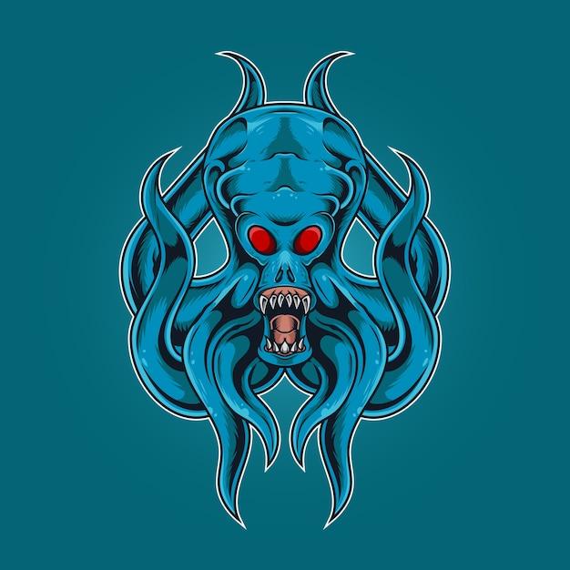 Il mostro di calamari ruggisce Vettore Premium